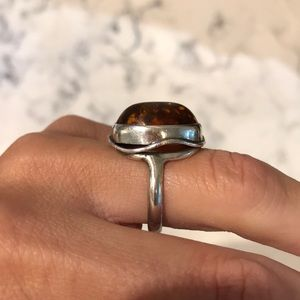 Vintage Art Deco Sterling Silver Amber Ring